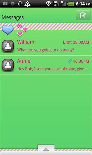 GO SMS THEME PastelHearts5