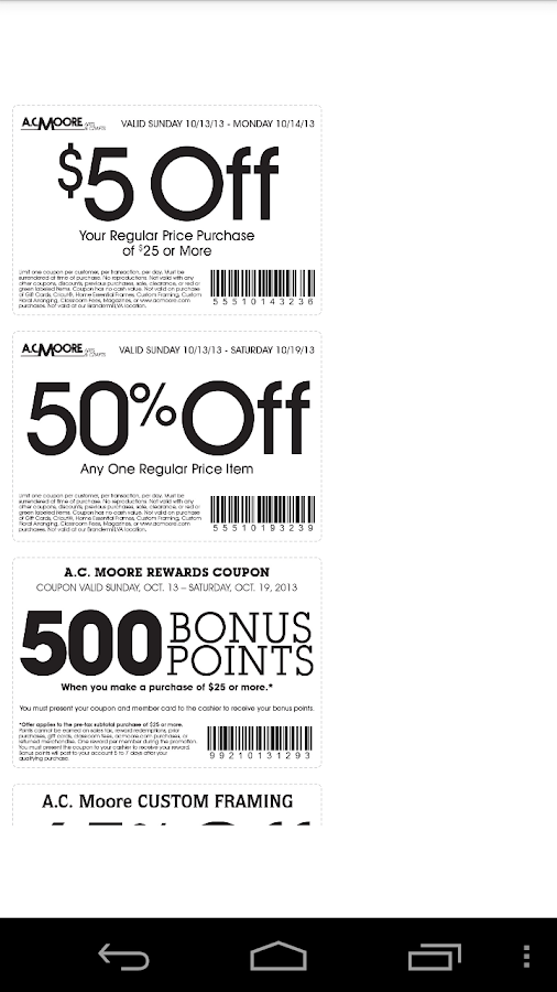 coupons for ac moore screenshot