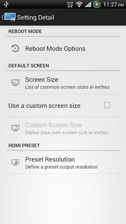 Screen Settings- screenshot