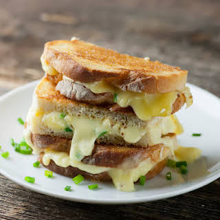 Grilled Brie Sandwiches with Mustard and Chives.