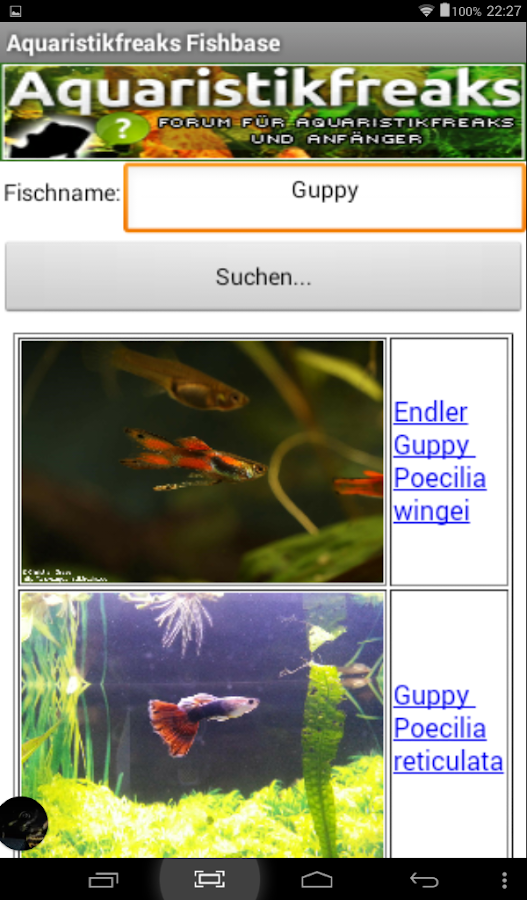 Aquaristikfreaks Fishbase- screenshot