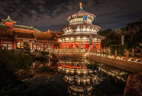 The Chinese Temple by Ivan Anchev - Buildings & Architecture Places of Worship ( temple, cultural heritage, night scene, chinatown, reflections, epcot, culture, china )