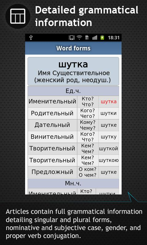 German <-> Russian dictionary - screenshot