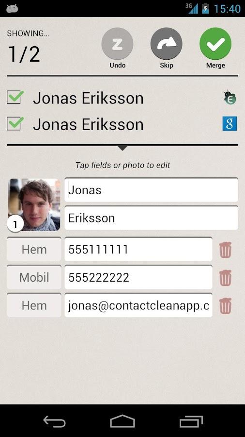 Contact Clean App- screenshot