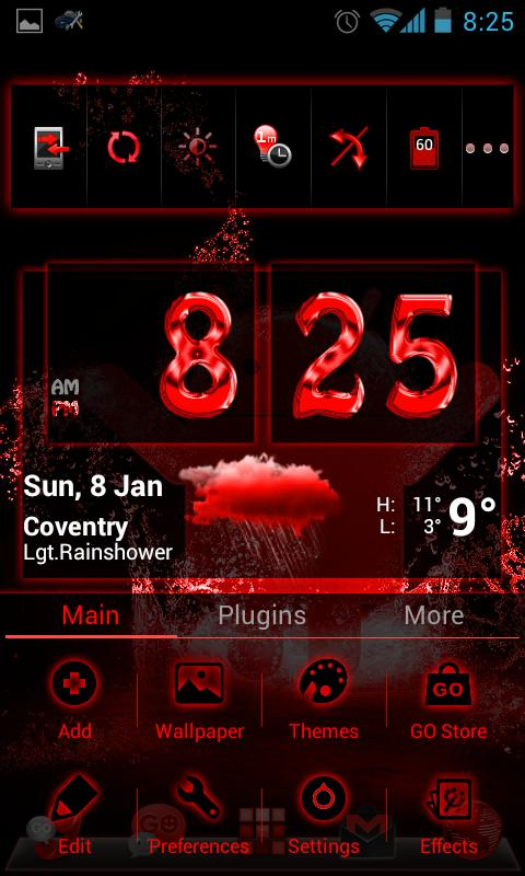 GOLauncherEx Theme BloodRed - screenshot