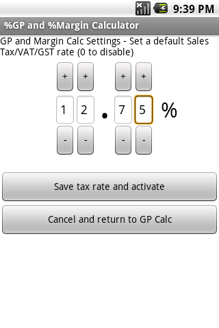 Free %Gross Profit Margin Calc - screenshot