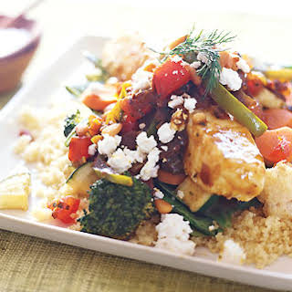 Black Sea Bass with Moroccan Vegetables and Chile Sauce.