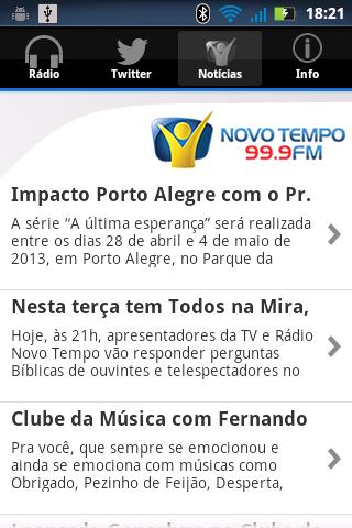 Rádio Novo Tempo 99.9 FM- screenshot