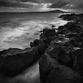 Dark waters by Michelle Denniston - Landscapes Beaches ( beaches, black and white, fine art, seascape )