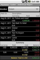 Screenshot of Payments Tracker