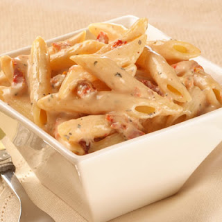 Penne Pasta with Sun-dried Tomato Cream Sauce.