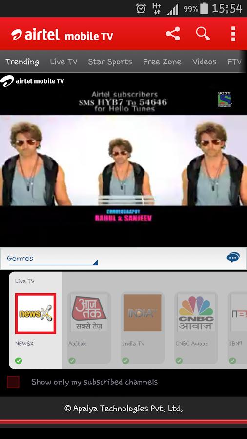 Airtel Live Mobile TV online- screenshot