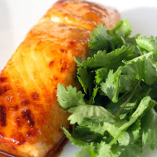 Harissa-Honey Glazed Roasted Salmon.