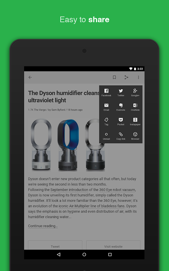 feedly news reader - screenshot