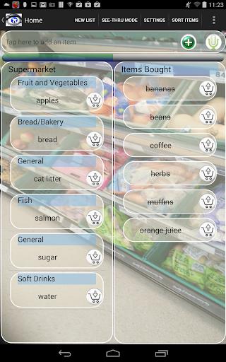 Transparent Shopping List