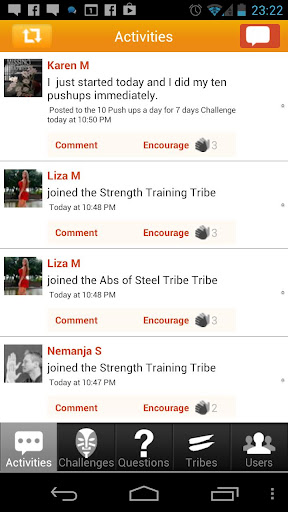 Tribesports Android App screen shot