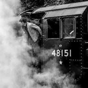 by Simon Sweetman - Black & White Street & Candid ( engine, locomotive, train, driver, steam,  )