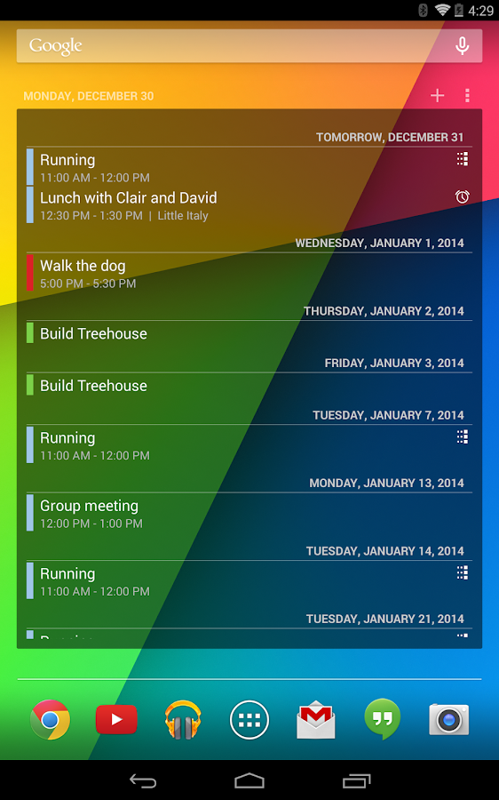Calendar Widget – Screenshot