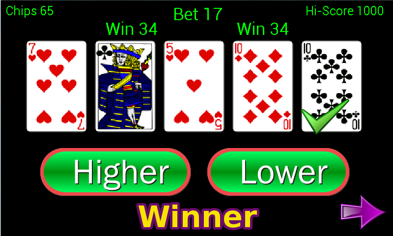 Higher or Lower card game - Android Apps on Google Play