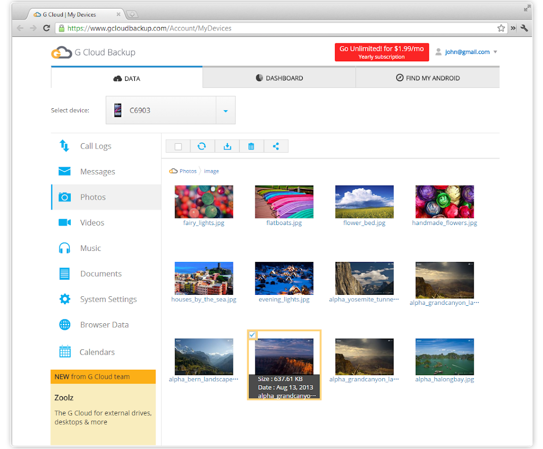 G Cloud Backup- screenshot
