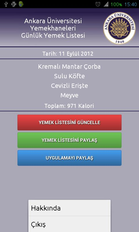 Ankara Üniversitesi Yemekhane- screenshot