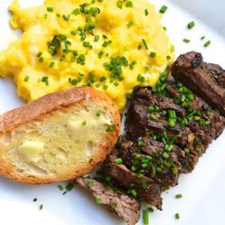 Herb-Marinated Steak and Soft Scrambled Eggs.
