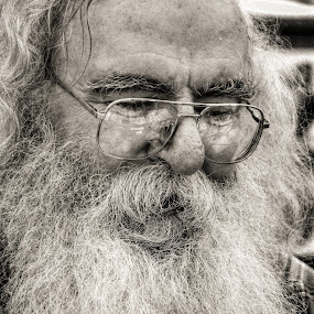 Beard in Thought by Christopher Mazzoli - People Portraits of Men ( glasses, black and white, beard, portrait, man,  )
