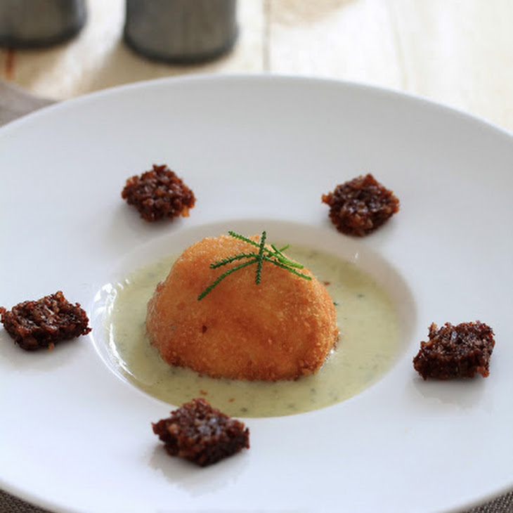Fried Soft-Boiled-Eggs with Roquefort Cream and Rugbrod Croutons Recipe