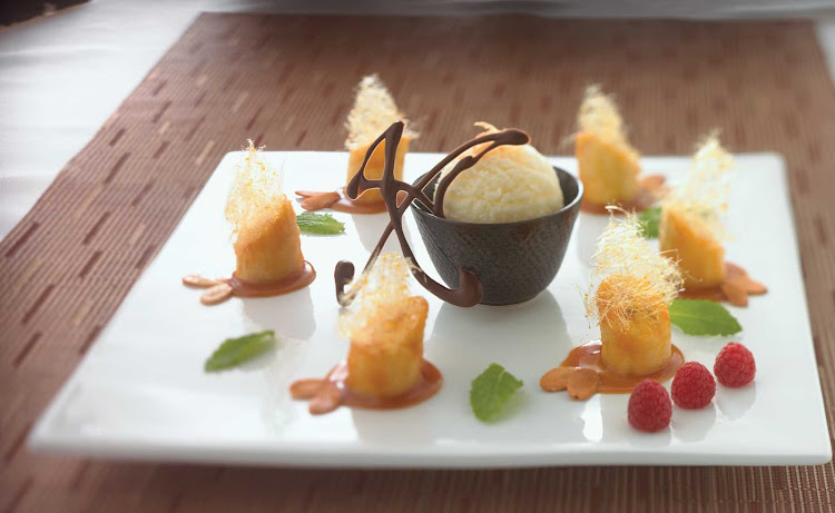 Caramelized bananas served with vanilla ice cream, a yummy treat in Celebrity Cruises's Silk Harvest restaurant.