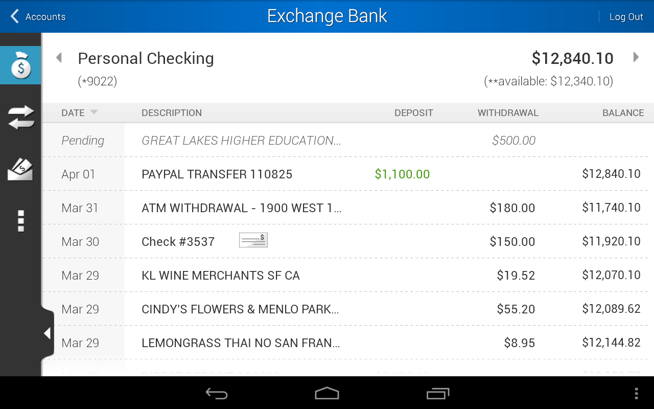 Exchange Bank Mobile - screenshot