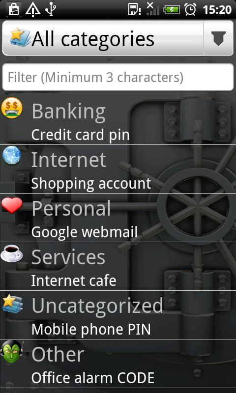 Password Manager - The Riddler - screenshot
