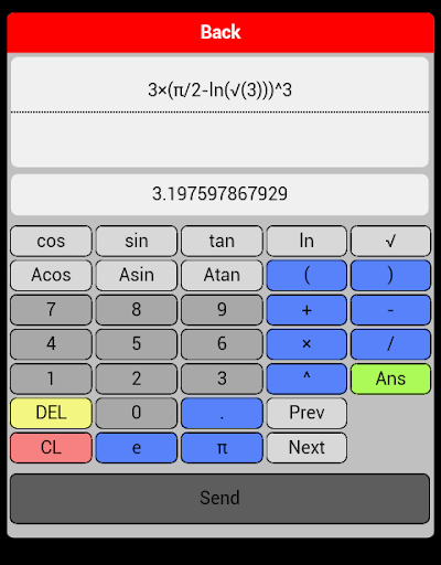 Maths calc grah table