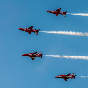 Red Arrows 2 rightway up 2 upside down  by Mark Usher - Transportation Airplanes ( red arrows 2014, arrows, sky, red, blue, 2014, aircraft, white, display, airshow )