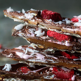 Chocolate Caramel Matzo with Strawberries and Coconut