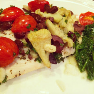 Baked Fish with Artichoke, Olives & Tomatoes.