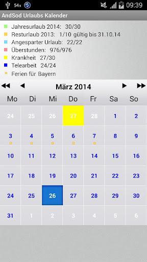 AndSod Holiday Calendar