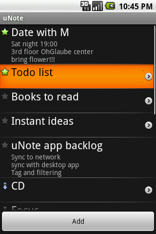 uNote, organized notes - screenshot