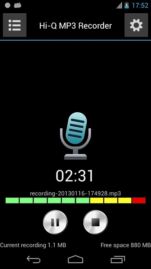Hi-Q MP3 Voice Recorder (Full) - screenshot