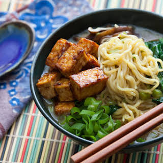 Miso & Shiitake Ramen with Hoisin-Glazed Tofu.