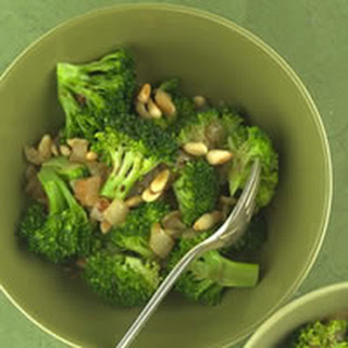 Broccoli With Caramelized Onions and Pine Nuts.