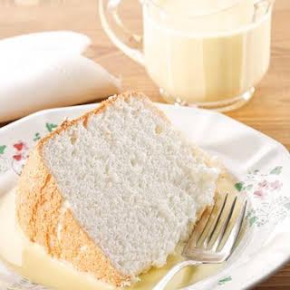 Mama's Angel Food Cake with Bourbon Creme Anglaise.
