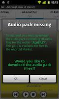 screenshot of Audio Pack (Mishary Alafasy)