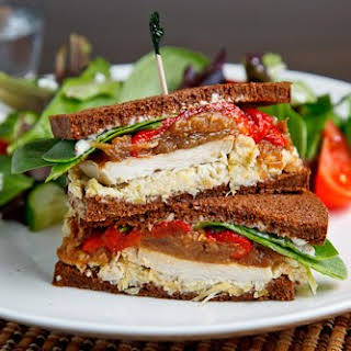 Roast Turkey Sandwich with Artichoke Tapenade, Caramelized Onions and Roasted Red Peppers.