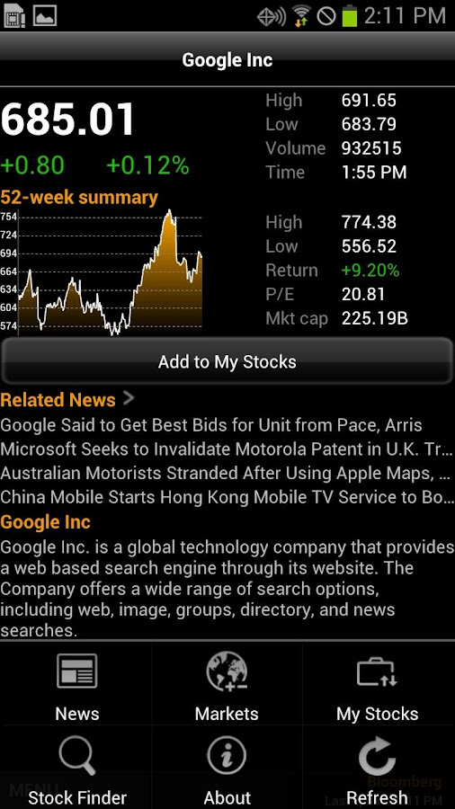 Bloomberg for Smartphone - screenshot