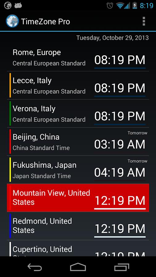 TimeZone Pro - screenshot