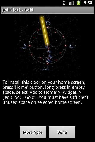 JediClock - Gold- screenshot
