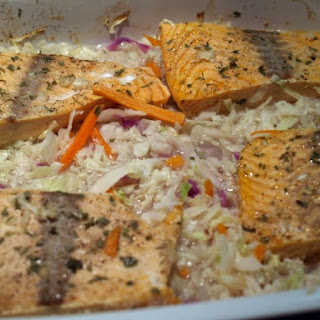 Oven Poached Salmon In Garlic Broth