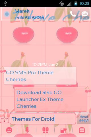 Theme Cherries for GO SMS Pro- screenshot