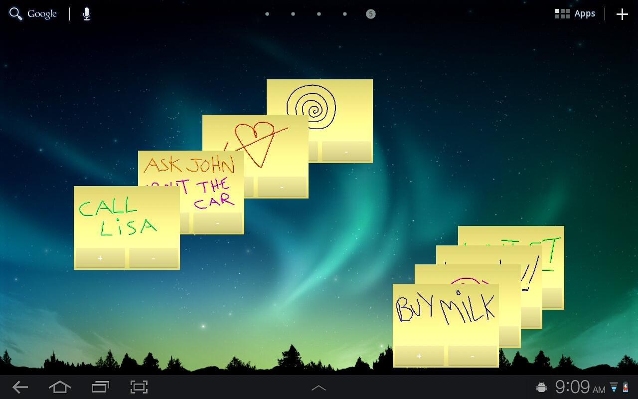 Sticky Notes HD Tablet Widget.- screenshot