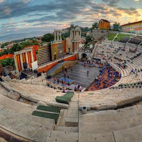 Before the rehearsal by Petar Shipchanov - Buildings & Architecture Public & Historical ( verdi, plovdiv, aida, ancient, theatre, opera, theater, amhytheatre, roman, bulgaria )